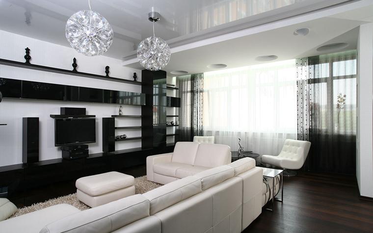 Дизайн зала в чёрно белых тонах